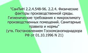 СанПиН 2.2.4.548-96. 2.2.4. Физические факторы производственной среды