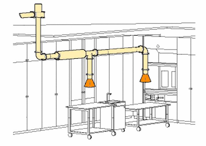 Пример местной системы вытяжки лаборатории