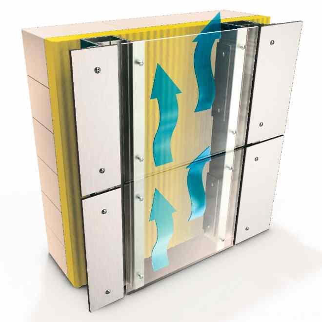 Схема фасадной конструкции с вентиляцией